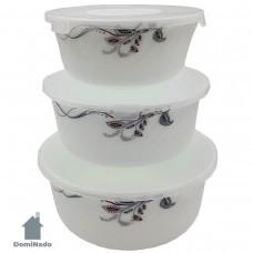 Набор салатниц 3шт. с крышками  из стеклокерамики  Арт.HDW3B