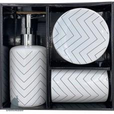 Набор для ванной (дозатор для мыла подставка для зубный щеток мыльница) из фарфора  Арт.B4002C-S3